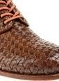 Divarese %100 Deri Örgü Desenli Bağcıklı Ayakkabı Taba